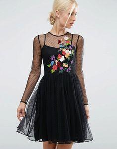 ASOS | ASOS Black Embroidered Dobby Mesh Skater Dress