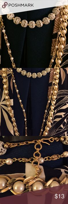 Gold white pearl necklace Gold white pearl necklaces three of them one 29 inches long gold white ball necklace 14 inches long ☘️small gold white29 inches. Good condition 7 For All Mankind Jewelry Necklaces