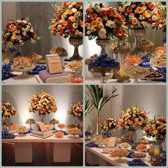 Mesa de doces laranja e azul !!