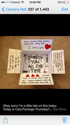 """""""I miss you all the time"""" care package for Ted! Deployment care package or just… Military Love, Army Love, Military Deployment, Deployment Gifts, Deployment Quotes, Usmc Quotes, Quotes Quotes, Cute Gifts, Diy Gifts"""