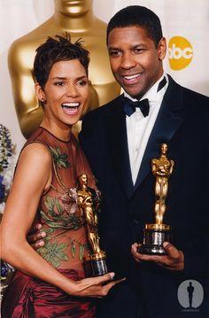 Oscars A look back 74th Annual Academy Awards, Halle Berry and Denzel Washington