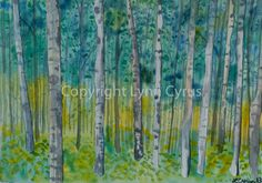 Original Watercolor painting of a spring aspen forest in Colorado, trees fill this scene, with greens, yellows, and blues as the primary color palette.  http://www.lynncyrus.com/Art/Lynn-Cyrus-Watercolors/31510217_2ztKs5#!i=2761601074&k=gvbGmKv