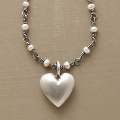 """HEART ON A PEARLY CHAIN NECKLACE--A plump heart, handmade in matte-finished sterling silver, is prettier when suspended from a sterling chain spaced with freshwater cultured pearls. Hook and eye clasp. Imported. Exclusive. 16""""L."""