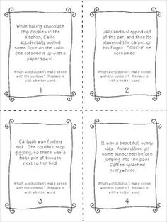Context Clue task cards - fun!  Each paragraph has a word that doesn't make sense, and students have to use the context to find that word and replace it with a better word!