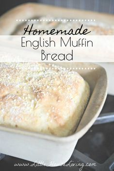 English Muffin Bread is easy to make and requires only one rise and no kneading at all! English Muffin Bread is versatile and can be used instead of sandwich bread or in place of traditional English Muffins. English Muffin Recipes, English Muffin Bread, Homemade English Muffins, Yeast Bread Recipes, Bread Machine Recipes, Baking Recipes, Bread Food, Free Recipes, Savoury Baking