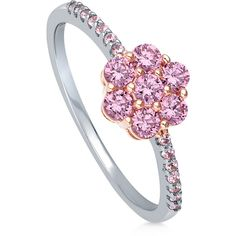 BERRICLE Sterling Silver CZ Flower Fashion Right Hand Statement Ring ($45) ❤ liked on Polyvore featuring jewelry, rings, pink, women's accessories, statement rings, cz rings, sterling silver cz rings, cubic zirconia cocktail rings and pink cz ring