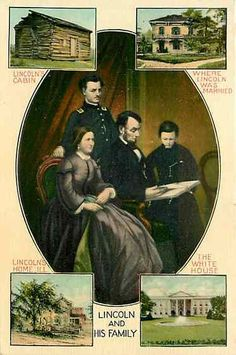 Patriotic Abraham Lincoln Family Portrait Mary Todd Robert T Tad Four Homes 1909 Abraham Lincoln Family, Mary Todd Lincoln, Family Portraits, Postcards, History, Monuments, Homes, Usa, Vintage