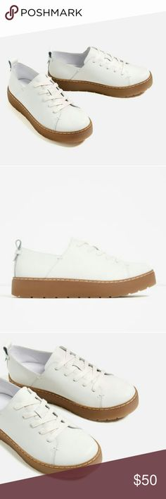 """ZARA White Leather Platform Chunky Shoes Lace-up fastening  Sole height 3 cm / 1.2"""" Rear pull-tab detail  Chunky, contrasting color sole 100% Cow Leather Zara Shoes Flats & Loafers"""
