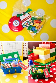 amazing games & party ideas for Lego theme: lego tube race, matching game, build a magnet, etc!