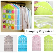 HOT! 16Pockets Clear Hanging Bag Socks Bra Underwear Rack Hanger Storage Organizer NEW Free Drop Shipping JA30 Storage Organization, Home Improvement, Hanger, Underwear, Nepal, Bags, Socks, Drop, Handbags