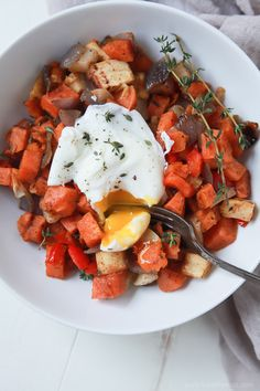 An Easy Sweet Potato Hash topped with Poached Eggs, you'll love the secret spice in this hash! It's the perfect breakfast or dinner for your family and easily fits into Paleo Diet. | joyfulhealthyeats.com #recipes #ad #vegetarian