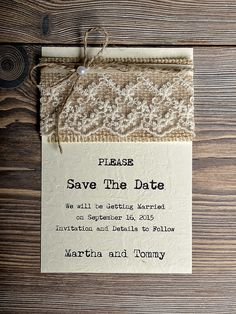 Save The Date Rustic Save the Date Recycling #WeddingInvitations #SaveTheDate