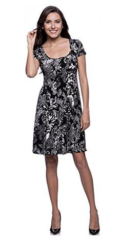 Connected Apparel Black Seamed FitandFlare Paisley Print Dress *** Read more  at the image link.