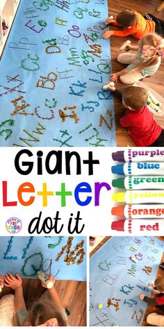 Giant letter dot it game - fun for center time small group or inside recess. Try it with numbers shapes or sight words. Perfect for preschool pre-k and kindergarten. Preschool Learning Activities, Preschool Lessons, Kindergarten Literacy, Preschool Classroom, Early Literacy, Preschool Crafts, Toddler Activities, Fun Activities For Preschoolers, Preschool Ideas