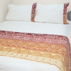 Duvet Covers ~ Artisans' Gallery Designs Queen $265.00 USD Duvet cover and pillowcases in 100% cotton material, inlaid with beautiful hand-painted fabric strip in Tribal Textiles' flagship Artisan's Gallery design, featuring a stunning vibrant red, orange and crimson colourway. #TribalArtisansGallery #TribalTextiles