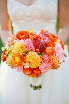 BEAUTIFUL Bouquet Composed Of Large Pink Carnations, Yellow Spider Mums, Yellow Dahlias, Orange Dahlias, Orange Ranunculus, Coral Pin Cushion Protea, & Coral Hypericum Berries*****************