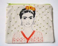 "Screen printed and embroidered pouch ""Orange and black Frida"""