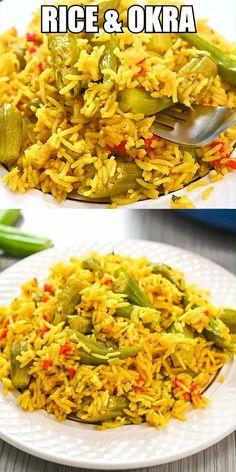 Rice Recipes For Dinner, Easy Vegan Dinner, Okra, Rice Crispy Treats, Evening Meals, Vegan Dinners, Food Videos, Veggies, Healthy Recipes
