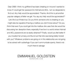 """Emmanuel Goldstein - """"Dear 2600: I think my girlfriend has been cheating on me and I wanted to know if..."""". relationships, infidelity, hackers"""