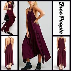 """FREE PEOPLE Maxi Dress Pockets Apron FREE PEOPLE Pocket Maxi Dress New with tags  * A relaxed & flowy silhouette      * Thin straps tie behind neck, asymmetrical & knotted hem on each side   * A lightweight fabric; Pullover style; Slouchy functional pockets      * About 39""""- 42"""" Long.  Fabric: 100% Cotton; Machine wash    Color: Fig (deep burgundy) Item:  No Trades ✅ Fair Offers Considered*✅ *Please use the blue 'offer' button to submit an offer. Free People Dresses Maxi"""