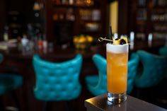 THE CACHARETTO SOUR: Barrel-Aged Cachaça, Amaretto, lemon juice, simple syrup, egg white.