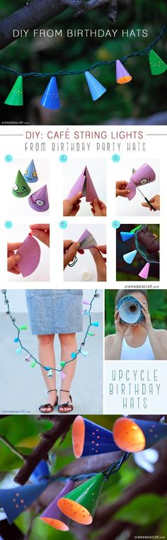 cremedelacraft.com - DIY String Lights from Birthday Party Hats