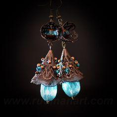 Vintage look Teal-Rosy Brown earrings, Art Nuvo, victorian, shabby chic, boho. via Etsy