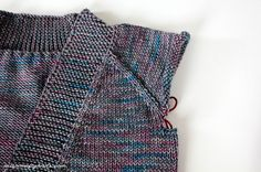 Tin Can Knits Harvest cardigan in variegated yarn, with pattern notes