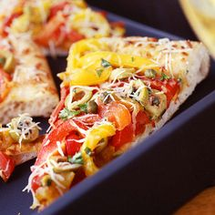 Roasted Bell Pepper-and-Olive Pizza- Ten Pizza Recipes under 300 Calories