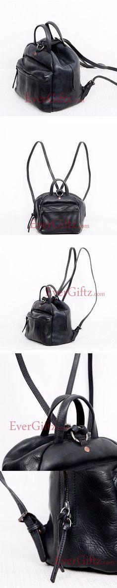 Genuine leather vintage women handbag shoulder bag crossbody bag backpack purse black