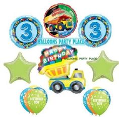 truck birthday party supplies   Boys Truck 3rd Birthday Party Decorations Balloons New   eBay