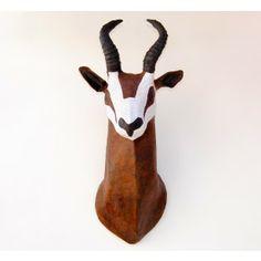 Faux Taxidermy Springbok Antelope Gazelle Head Paper Mache Wall Mount
