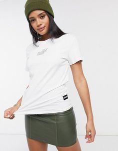 Puma queen oversized logo t-shirt in white. #puma #tshirts #activewear