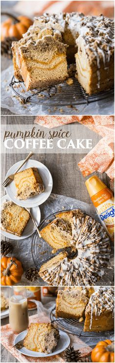 Pumpkin Spice Coffee Cake: moist sour cream coffee cake infused with pumpkin spice, ribboned with pumpkin and topped with a crunchy cinnamon crumb topping. Perfect for fall! food brunch cake #PumpkinDelight #IDelight @indelight #ad