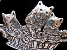 Sterling Silver Kitty Cat in Basket Figural Three Little Kittens Vintage Brooch | eBay