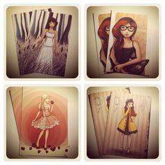 Lot de 4 cartes postales illustrées par MalouZelle