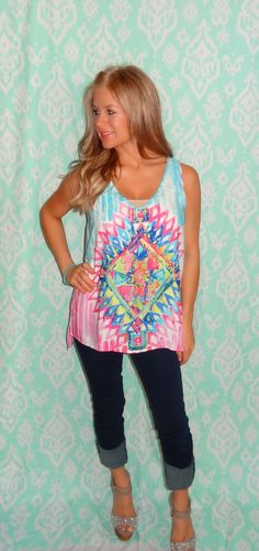 Pink & Blue tribal blouse · The Sister's Boutique · Online Store Powered by Storenvy