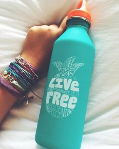 "Say hello to our ""Live Free"" water bottle! This stainless steel bottle is 100% BPA free, made of 25% recycled..."