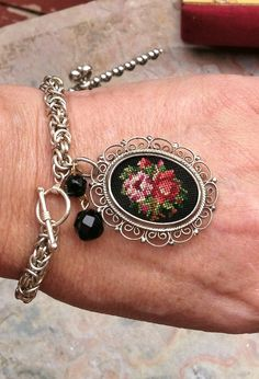 May Mom Sterling Needlepoint Bracelet Austria by WillowBloom, $85.00