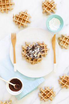 Vanilla Waffles with Dark Chocolate Drizzle