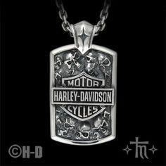 Harley Davidson & skulls s.s. pendant