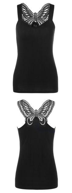 $11.96 Lace Trim Butterfly Pattern Tank Top - Black