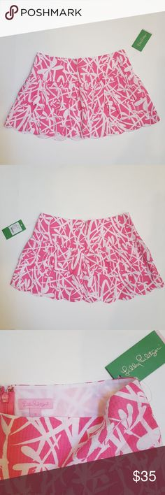 NWT Lilly Pulitzer Cuddy Mini Skirt NET Lilly Pulitzer Cuddy Mini Skirt Hotty Pink Light My Fire Size 2 Scalloped Hem  Dragonfly Pique Fabric Lilly Pulitzer Skirts Mini