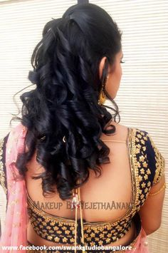 Indian bride's bridal engagement hairstyle by Swank Studio. #Saree #Blouse…