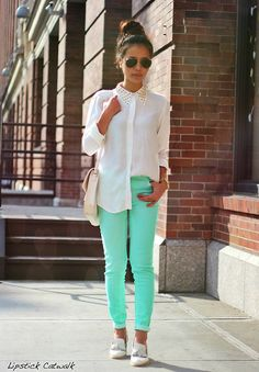 Love Mint!! A Hint of Pistachio... (by Leah  Ho) http://lookbook.nu/look/3877326-A-Hint-of-Pistachio