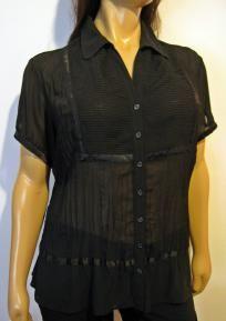 Lane Bryant Black Sheer Crinkle Blouse - Size 22/24