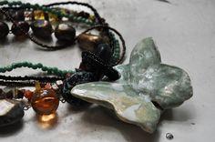 Handbuilt Pottery Butterfly Necklace