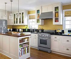Makeover with Paint - love yellow with black and white or gray. From bhg.com.