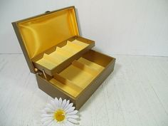 Vintage Gold Buxton Jewelry Chest  Retro Lovely by DivineOrders