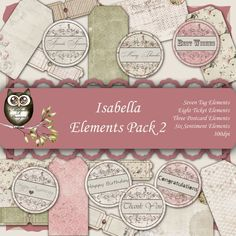 Isabella Elements pack 2 - Instant download, Digital Element Pack, Shabby Element, Digital Elements Sheet, Vintage Element by MicheleRDesign on Etsy